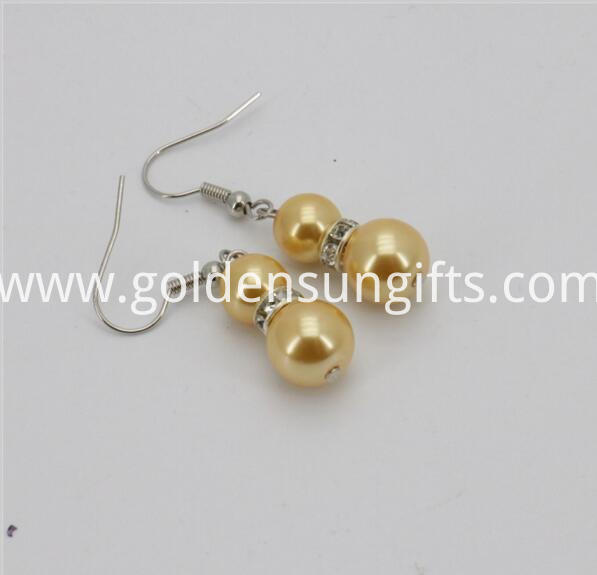 Golden Sea Shell Pearl Bead Earrings