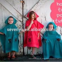 100% Qualitätsbaumwollbaby-Kapuzentuch, Karikatur mit Kapuze Bademantel für Kinderbaumwollbadetücher HDT-9013 China-Fabrik