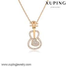 43975 xuping vente chaude 3 gramme or collier conceptions mode violon type zircon pierre plaqué or bijoux collier