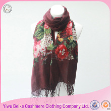 2017 new style long flower embroidered pattren winter knitted 100% cotton scarf