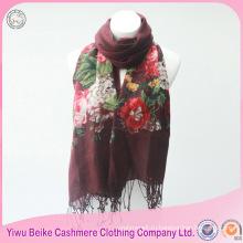 2017 новый стиль длинные цветочные вышитые шаблон зима трикотажные 100% хлопок шарф