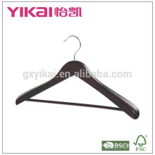 2015Beautiful coat wooden hanger with round bar and wide shoulder in antique