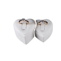 White Heart Shaped Jewelry Couple Ring Display (RWS2)