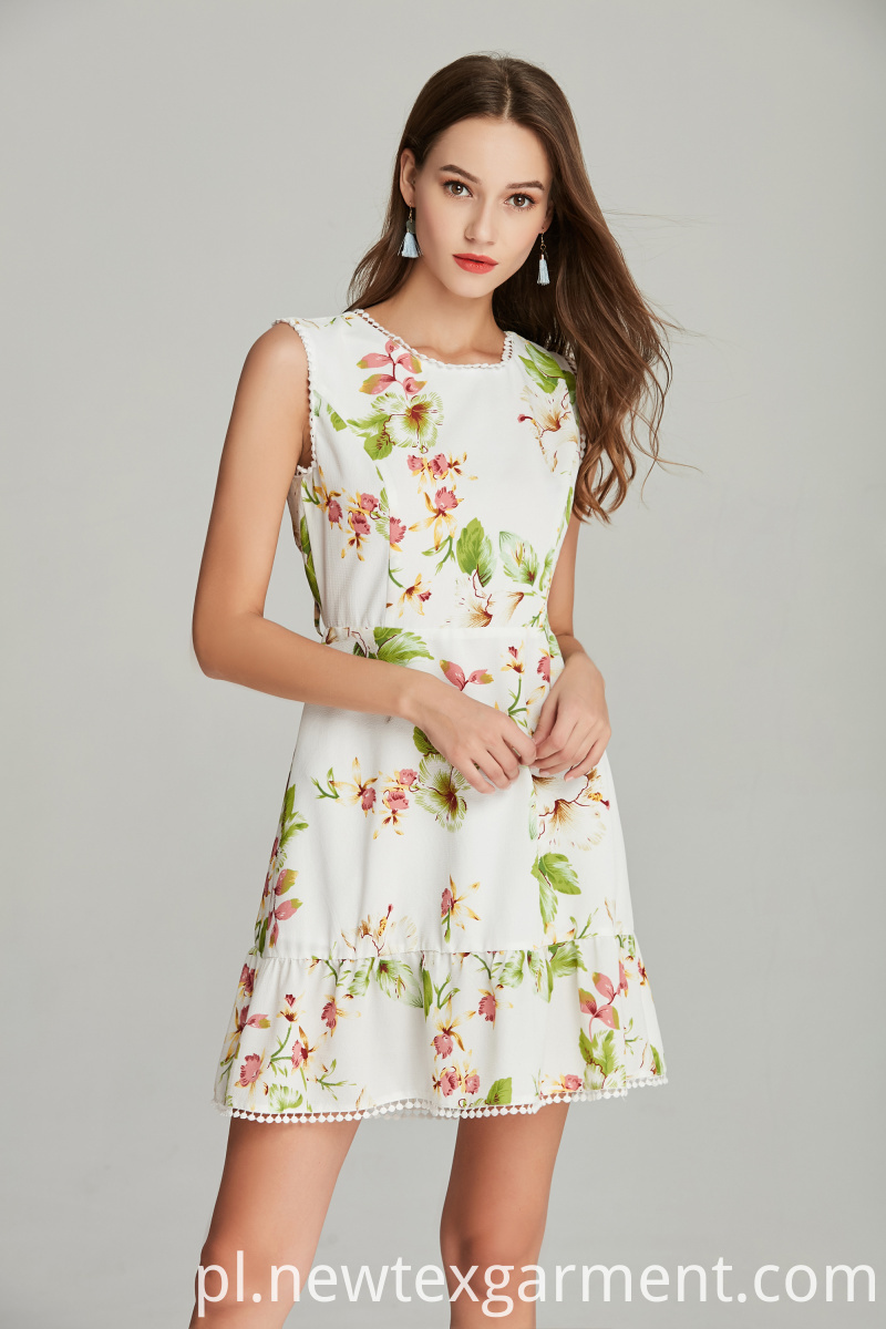 printed polyester crepe dress