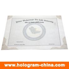 Certificado de marca de diseño personalizado de seguridad antifalsificación