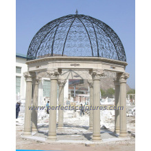 Outdoor Garden Marble Gazebo with Cast Iron Top (GR041)