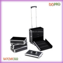 4 in 1 Black Rolling Aluminum Travel Jewelry Trolley Case with Drawers (SATCMC022)