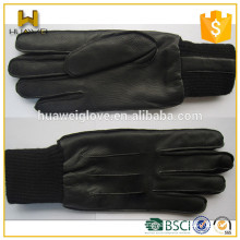 elastic cuff !!! Men's Winter deerskin Gloves Leather