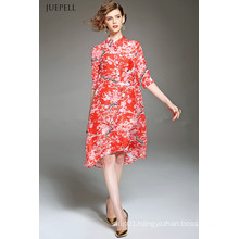 Fashion Elegant Silk Loose Floral Printed Dress