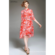 Moda elegante seda solta Floral impresso vestido