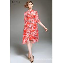 Мода Элегантные Шелковые Свободные Цветочные Печатные Платье
