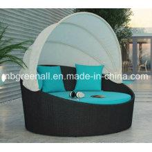 Rattan camas de dia ao ar livre com Canopy