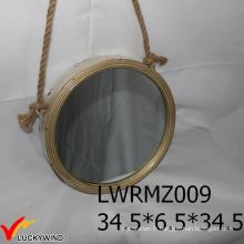 Miroir rond décoratif encadré en métal Vintage Rope