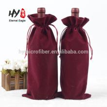 Bolso de cordón de terciopelo suave personalizado para el paquete de vino