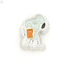 Charme de esmalte dos desenhos animados de medalhão flutuante, encantos flutuantes baratos para pulseiras