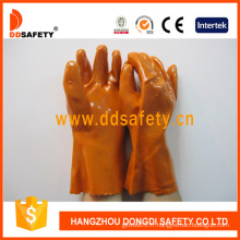 Gants orange d'industrie de PVC, doublure de coton de 100% (DPV102)