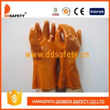 Luvas de indústria de PVC laranja, 100% algodão forro (dpv102)