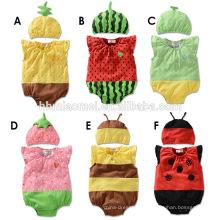 2016 diseño de verano de corte unisex fruta y abeja mameluco del bebé mameluco sin mangas 100% algodón al por mayor