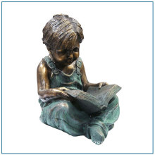 Bella scultura in ottone ottone Boy scultura Reading Book