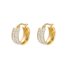 E-611 xuping fashion Rhinestone  24K gold color  Stainless Steel simple Hoop  Earrings for women