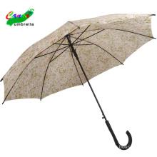 Pattern design stick straight curve handle regular promotional customized logo cheapest outdoor metal frame paradise umbrella