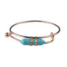 Gold Plated Turquoise Hexagonal Prism Cuff Bracelet Bangle