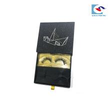 Logotipo personalizado de luxo de ouro glitter 3 d cílios vison mink gaveta de papel caixa preta