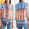 Tasseled rayas multicolor manga tres cuartos mangas chaqueta de algodón fabricación venta al por mayor moda mujeres ropa (TA0008J)