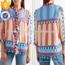 Tasseled Multicolore Rayé Trois-quarts Longueur Manches Coton Veste Fabrication En Gros Mode Femmes Vêtements (TA0008J)