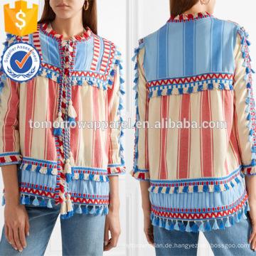 Tasseled mehrfarbigen gestreiften Dreiviertel Länge Ärmel Baumwolle Jacke Herstellung Großhandel Mode Frauen Bekleidung (TA0008J)