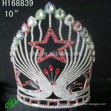 Pentagram Full Round Pageant Crowns Princess Tiara Big Rhinestone Tiara