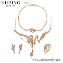 64576 Xuping atacado materiais de cobre nobre 18 k conjunto de jóias de ouro imitação de jóias