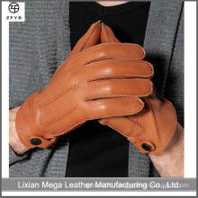 High quality winter leather deerskin gloves fashion men's wool lined deerskin gloves