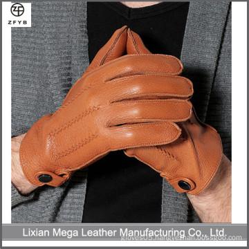 High quality winter leather deerskin gloves fashion men's wool lined deerskin gloves
