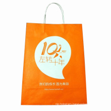 Yellow Color Kraft Paper Shopping Bag
