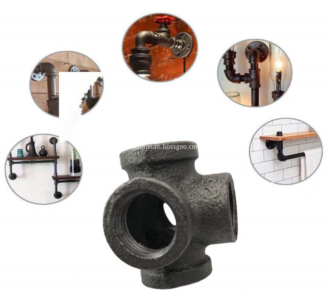 Black Malleable Iron Cast Pipe Fitting 5 Way Pipe Female (1)