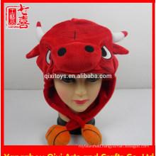 New designs plush bull head shaped hat animal plush hat