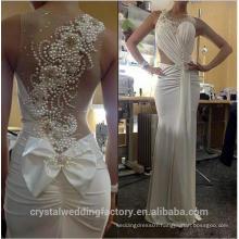 Vestido de Noiva Romantic Pearls Back Custom Made Sheer Scoop Neck Pleats Body Chiffon Long Sheath Beach Wedding Dresses MW2209