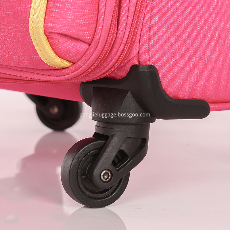 Pink woman soft polyester trolley luggage5