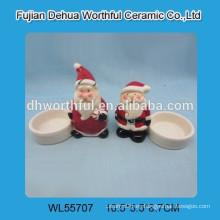 Sujetador de vela de cerámica de la Navidad del diseño de Santa de las ventas al por mayor