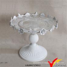 Французский стиль античный белый свадебный торт стенд металлическое стекло