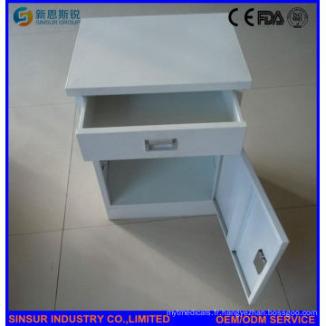Cabinet de chevet de l'hôpital d'acier inoxydable certifié ISO / Ce