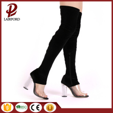 over knee suede PVC stitching long sandals