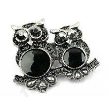 Новый дизайн Black Double Owl Brooch BH12
