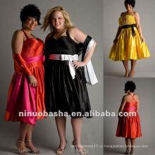 Атласная без бретелек с ruched лиф и бант вечернее платье 2012
