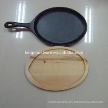 Nicht-Stick / Pre-Seasoned Gusseisen Pizza brutzelnde Pfanne / Platte mit Holzfuß