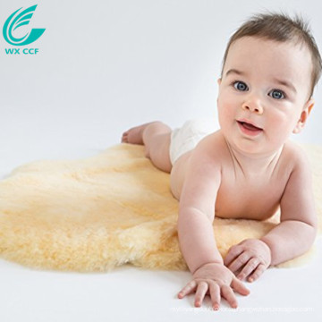 home textile yellow soft sheepskin rug for baby