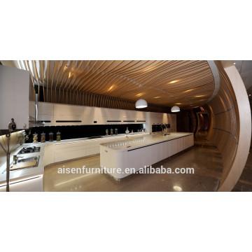 Armário de cozinha branco de lâmina brilhante alto padrão de alta qualidade