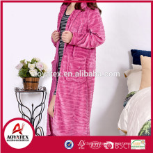 high quality flannel fleece zipper women bathrobe