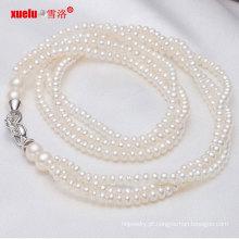 Moda 3strands pequena jóia colar de pérolas naturais de água doce (e130001)